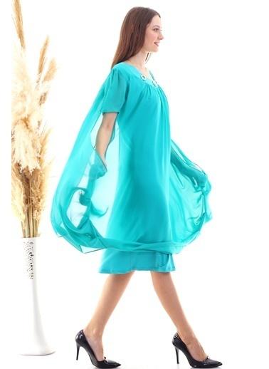 Cottonmood 20050518 Şifon Yaka Taşlı Salash Cepli Elbise Mint Yesili Yeşil